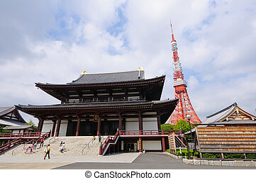 Tokyo Tower and Zojo-ji Temple in Tokyo, Japan. Taken in summer 2011.