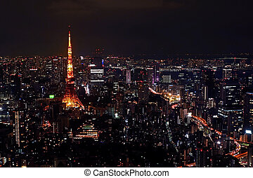 Tokyo tower,, building, architecture, road, street from aero view