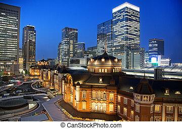Tokyo train station at night