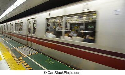 Tokyo Train - Tokyo train leaving the platform on the Oedo...