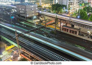 Tokyo trains and traffic at night