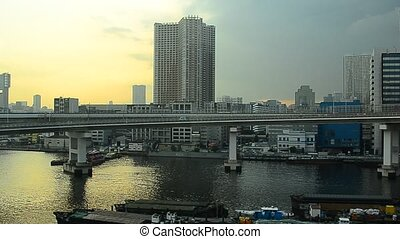 View from the monorail in Tokyo, Japan.