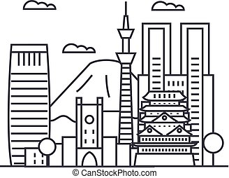 tokyo vector line icon, sign, illustration on background, editable strokes