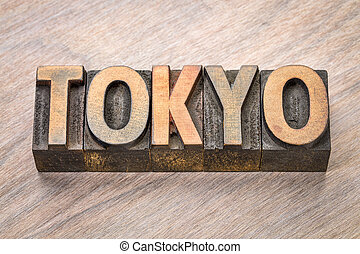 Tokyo word abstract in wood type