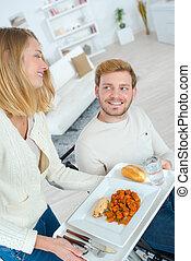 tolószék, ember, hölgy, étkezés, átadó