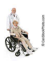 tolószék, idősebb ember, &, doktor