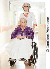 tolószék, türelmes, ápoló, öregedő