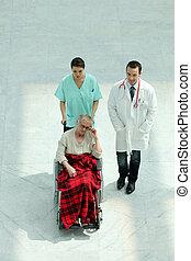 tolószék, türelmes, ápoló, orvos