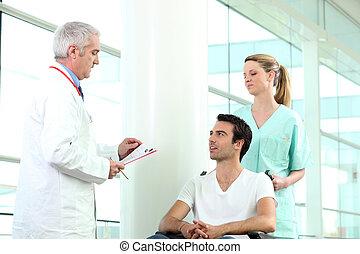 tolószék, türelmes, orvos