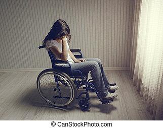 tolószék, woman sír, ülés