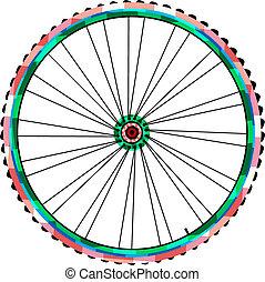tol, vektor, bicikli, elszigetelt