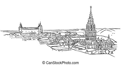 Toledo Ancient Panorama Wall Art, Hand-drawn Vector Outline...