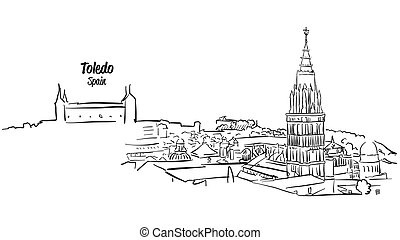 Toledo Ancient Skyline Panorama Sketch, Hand drawn Vector...