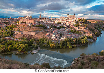 Toledo, Castilla La Mancha, Spain - Aerial view of Old city...