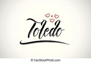 toledo city design typography with red heart icon logo -...