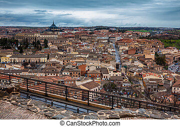 Toledo city on a rainy winter day