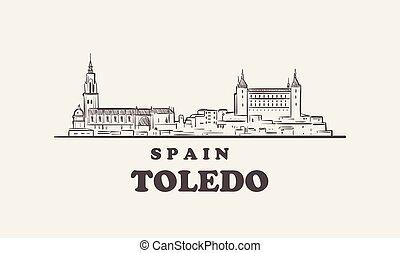 Toledo cityscape sketch hand drawn , spain vector illustration
