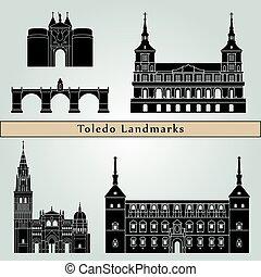 Toledo landmarks and monuments isolated on blue background...