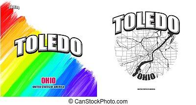 toledo, logo, gestaltungsarbeiten, zwei, ohio