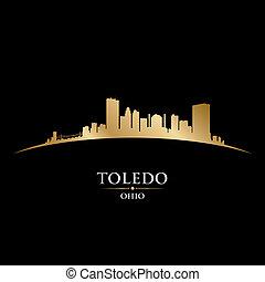 toledo, noir ohio, fond, ville, silhouette