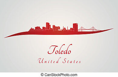 Toledo OH skyline in red and gray background in editable...