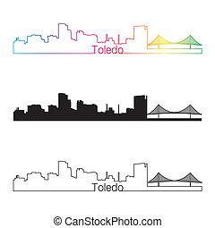 Toledo OH skyline linear style with rainbow in editable...