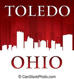 Toledo Ohio city silhouette red background