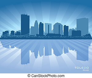 Toledo Ohio city skyline vector silhouette illustration