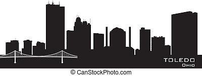 Toledo Ohio city skyline vector silhouette - Toledo Ohio...
