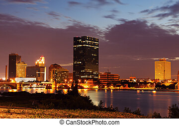 Toledo, Ohio - downtown over Maumee River at sunset