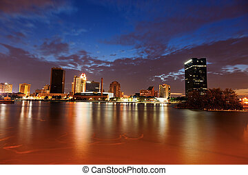 Toledo, Ohio - sunset seen accross Maumee River.