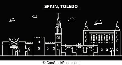 Toledo silhouette skyline. Spain - Toledo vector city,...
