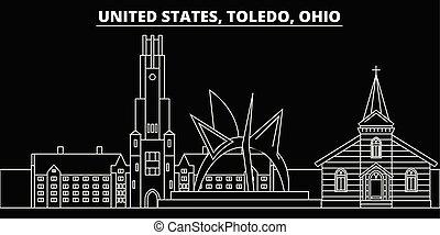 Toledo silhouette skyline. USA - Toledo vector city,...