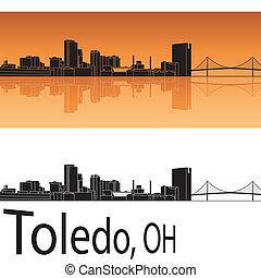 Toledo skyline in orange background in editable vector file
