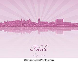 Toledo skyline in purple radiant orchid in editable vector...