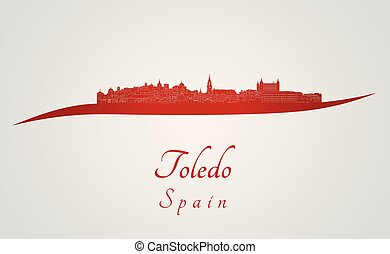 Toledo skyline in red and gray background in editable vector...