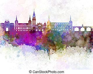 Toledo skyline in watercolor