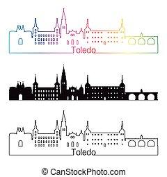 Toledo skyline linear style with rainbow in editable vector...