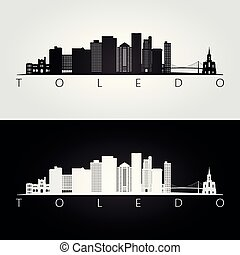 Toledo usa skyline and landmarks silhouette, black and white...