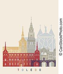 Toledo V2 skyline poster in editable vector file