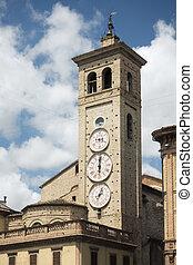 tolentino, torre, clocks, três, igreja