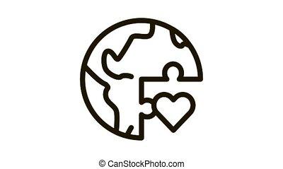 tolerance piece of world Icon Animation. black tolerance piece of world animated icon on white background