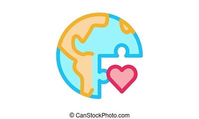 tolerance piece of world Icon Animation. color tolerance piece of world animated icon on white background