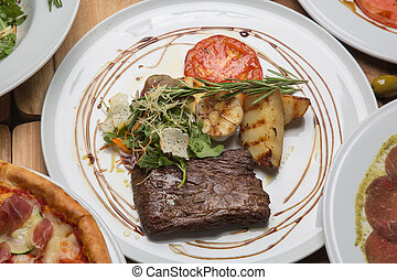 Toliet steak in the restaurant