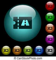 Toll discount coupon icons in color illuminated glass...