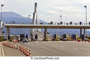 Toll posts just before the entrance to the Rio-Antirion cable bridge at Patra, Greece