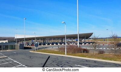 Toll Road Station in France - Tilt Shift 4K Video