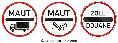 German traffic signs at toll station and roads with charge. Zoll and Duane mean toll, Maut means road charge.