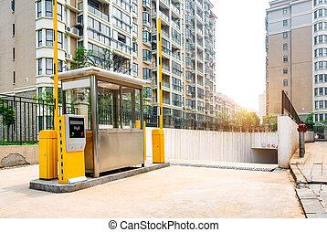 tollbooth, metro, parque, coche