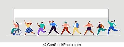 tolong, demonstration., emberek, fogalom, vektor, csoport, kampány, szavazás, közönség, férfiak, téma, nők, háttér., flags., gyalogló
